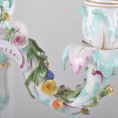 """Meissen 3 Fl Candlesticks Candlestick Plastic Flowers, 11.8"""", Flowers & Insects"""