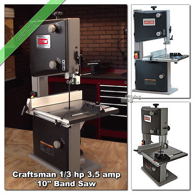 Craftsman Band Saw 10'' Woodworking 3.5 Amp 1/3HP Bandsaw Miter Garage Wood Shop