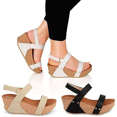 Womens Ladies Platform Wedge Sandals Ankle Strap Open Toe Summer Shoes Sizes
