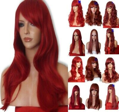 INTENSE RED Long Wavy Straight Halloween Fashion Costume womens full WIG