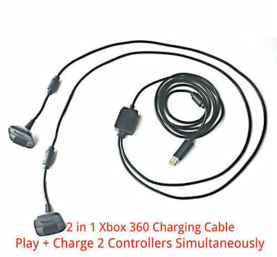 2 in1 3M Long USB Play + Charger Charging Lead Cable for Xbox 360 Controller Pad