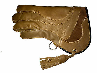 New Falconry Glove Quadruple Skinned Nubuck Leather 11 Inches Long 4 Layers.