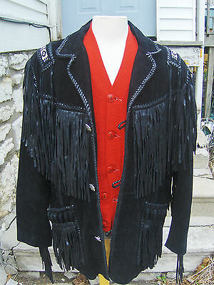 Men's Indian Beaded Fringed Leather Scully Western Jacket Sz 46 Nice Condition
