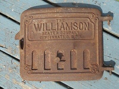 Antique Vtg Cast Iron Vent Cover Furnace Stove Door Williamson Heater Cincinnati