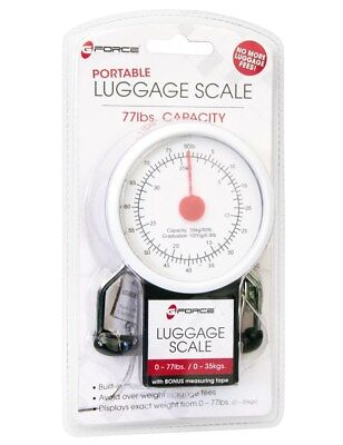 G-Force Portable Luggage Scale With Bonus Measuring Tape, Black, 77 Lbs Capacity