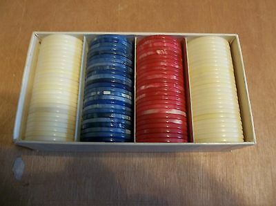 STANDARD MARBLELIKE RED,WHITE & BLUE  POKER CHIPS 100 IN THE BOX