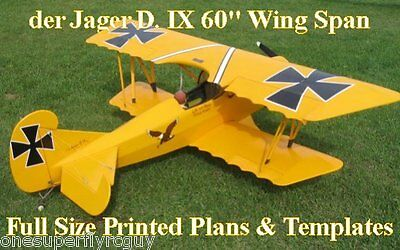 """der Jager D-IV 60""""WS Giant Scale RC Airplane Full Size PRINTED Plans & Templates"""