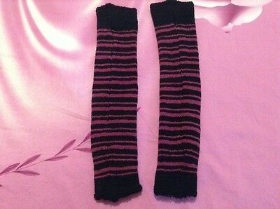 "NWOT KD Dance Women's Arm Warmer Dark Raspberry and Black striped 15"" Size M"