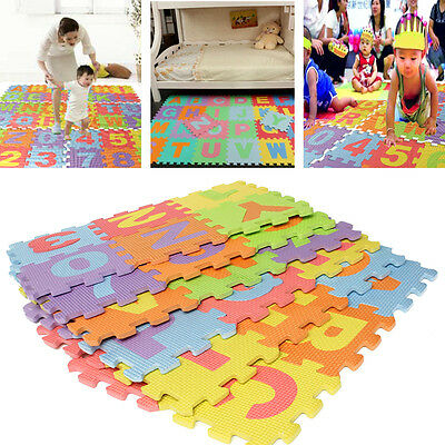 36pcs EVA Foam Pad to Pad Alphabet Number Puzzle Baby Craw Safety Play Kids Mat