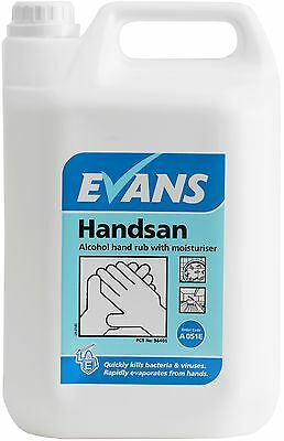 EVANS HANDSAN - 70% Alcohol Hand Rub Sanitiser Gel with Moisturiser (5L)
