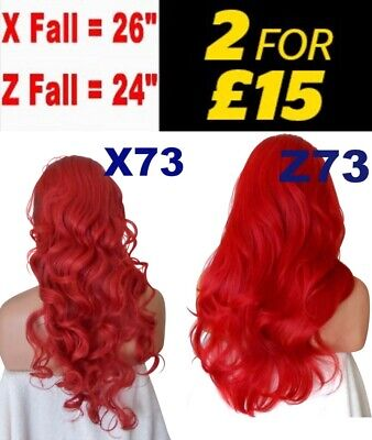 POPPY RED Long Curly Layered Half Wig Hair Piece Ladies 3/4 Wig Fall Clip in
