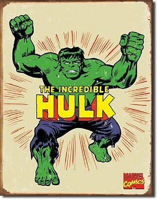 "12 1/2"" X 16"" THE INCREDIBLE HULK METAL SIGN MARVEL NEW"