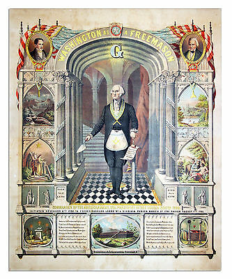 George Washington Freemason illuminati Painting 8x10 Fine Art Canvas Print