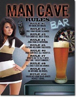 "12 1/2"" X 16"" MAN CAVE BAR RULES HOTIE METAL SIGN NEW"