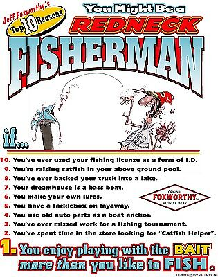 "17 1/2"" X 11 3/4"" JEFF FOXWORTHY MIGHT BE A REDNECK FISHERMAN METAL SIGN NEW"