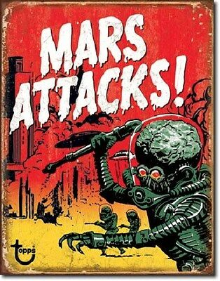 "12 1/2"" X 16"" TIN SIGN TOPPS MARS ATTACKS METAL SIGN NEW"