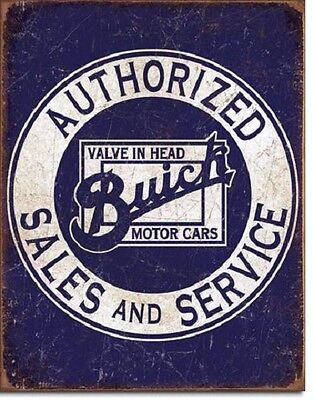 "11 1/2"" X 16"" TIN SIGN BUICK AUTHORIZED SALES & SERVICE METAL SIGN NEW"