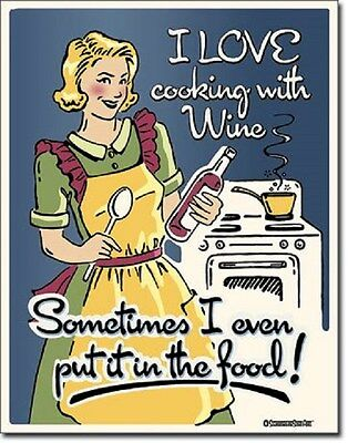 "12 1/2"" X 16"" TIGN SIGN I LOVE COOKING WITH WINE METAL SIGN NEW"