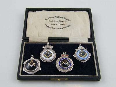 Collection Of Four Hm Silver & Enamel Masonic Fobs