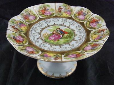 Hand Painted & Gilded Porcelain Floral Compote