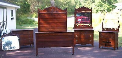 Antique Victorian Bedroom Set, 4 pieces, Bed, Washstand, Two Dressers