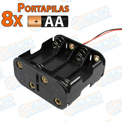 PORTAPILAS 8x 4+4 AA R6 12v con cable alimentacion PCB battery holder