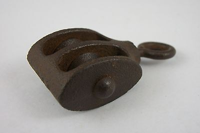 Antique Cast Iron Rope Double Pulley Small Victorian Rustic Wheel Vintage Old