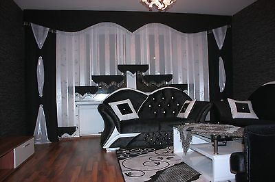 gardinen weiss schwarz. Black Bedroom Furniture Sets. Home Design Ideas