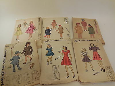 Lot of 6 Vintage Simplicity DuBarry McCall Girl's Sewing Patterns