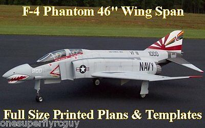 """F-4 Phantom 46"""" WS 1/10 Scale RC Airplane Full Size PRINTED Plans & Templates"""