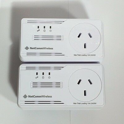 Netcomm NP505F Powerline Adapters /AC Pass-through upto 500Mbps x 2