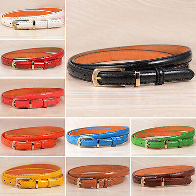 Fashion Womens Waist Belt Genuine Leather Metal Buckle Narrow Thin Waistband