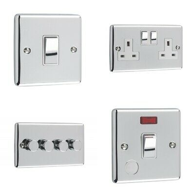 Windsor Range - Polished Chrome Sockets and Switches White Trim
