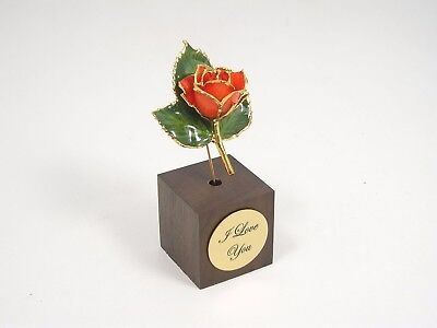 """3"""" 24k Gold Dipped Peach Rose in Square Stand (Free Anniversary Gift Box)"""
