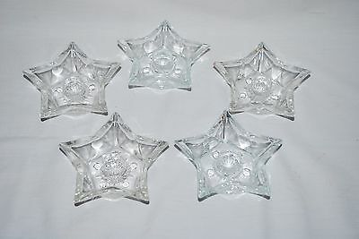 Set of 5 Vintage Glass Star Christmas Taper/Pillar Candle Holders