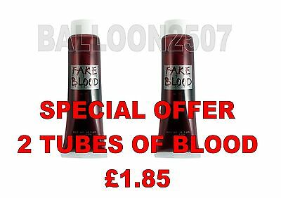 2 Fake Red Blood Tubes Halloween Fancy Dress Vampire Theatrical Make Up Zombie