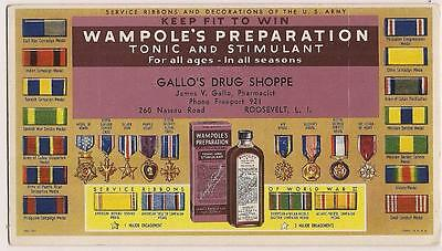 Blotter WW2 Service Medals US Army Wampole's Tonic Long Island NY Drug Store VG