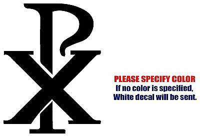 Chi Rho PX Christian symbol Vinyl Decal Sticker Car Window Bumper Wall Boat 7""