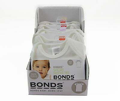 Bonds Baby Boys Girls Ribbies Short Sleeve Top Tee Tshirt White Size 00 0 1 2