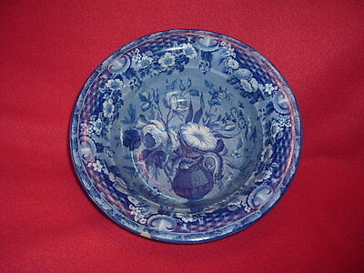 Historical Staffordshire Dark Blue Wash Bowl Basket Of Flowers By Riley Ca. 1825