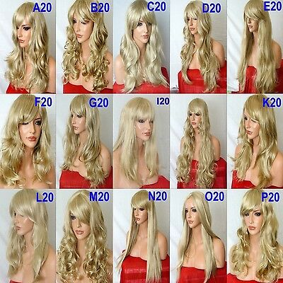 BLONDE Mix Wig Natural Long Curly Straight Wavy Women Fashion Ladies Hair WIG