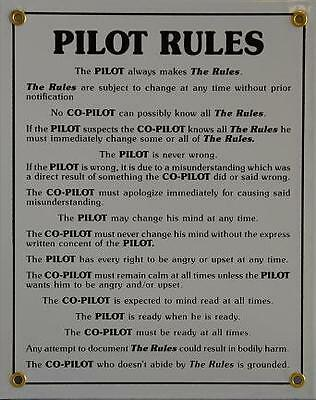 """The Pilot Rules"" Vintage Aviation Metal Sign - Hangar Garage or Airplane"