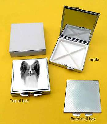Papillon Dog Polished Metal Square Pill Box 4 compartments Gift
