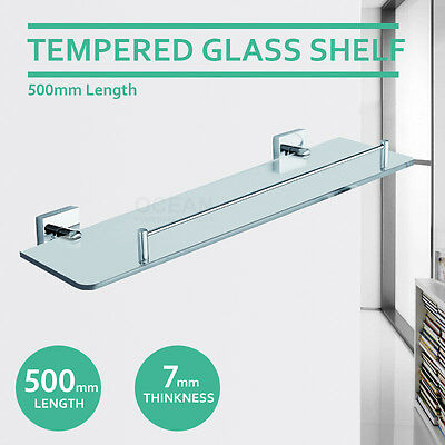 New 500mm Single Square Glass Shelf Vanity 304 Stainless Steel Bathroom Shower