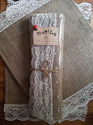 6 x Hessian and lace handmade Table Mats