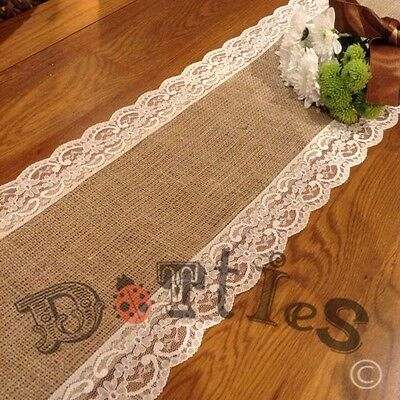 12ft beautiful hessian and lace table runner chf for 12 ft table runner