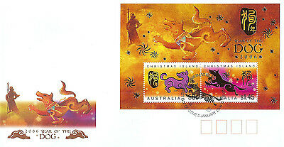 Christmas Island 2006 Year of Dog mini sheet on Australia Post first day cover