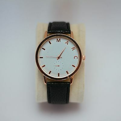 New Black Rose Gold Vintage Marc Watch Leather Fashion Vintage Womens Wristwatch
