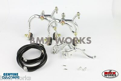 Dia-Compe MX890 - MX123 Silver & Black Brake Set - Old School BMX Style Brakes