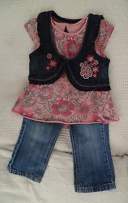 Baby clothes GIRL 12-18m outfit NEXT jeans+top+waistcoat 2nd item post-free!